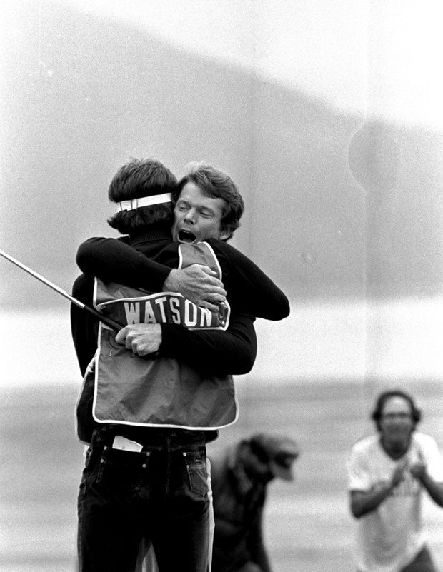 Tom Watson hugs his caddy after winning the U.S. Open, June 21, 1982 at Pebble Beach, California. Watson beat four-time Open winner Jack Nicklaus with birdies on the last two holes