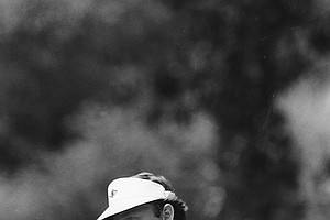 Ray Floyd reacts after sinking a birdie putt on the eighth during third round action in the PGA Championship at Southern Hills Country Club in Tulsa, Okla., Saturday, Aug. 7, 1982