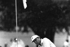 Ray Floyd blasts out of the sand onto the third green during third round play in the PGA Championship at Southern Hills Country Club in Tulsa, Okla., Saturday, Aug. 7, 1982. He bogeyed the hole.