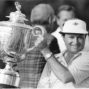 Ray Floyd holds the trophy after his victory in the 64th PGA Championship at Southern Hills Country Club in Tulsa, Okla., Sunday, Aug. 8, 1982. This is Floyd's second PGA win.