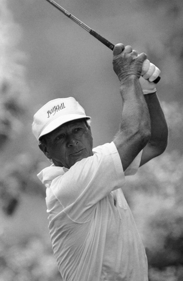 Arnold Palmer tees off on the ninth hole of the Oakmont Country Club during first round play in the 83rd U.S. Open, Thursday, June 16, 1983, Oakmont, Pa. Palmers army of fans groaned as he bogeyed the par-5 ninth and dropped one stroke off the pace in the early going.