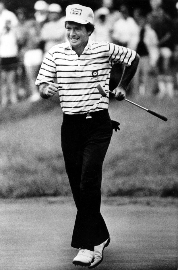 Larry Nelson reacts after sinking a 62-foot birdie putt on the 16th hole during final round action in the U.S. Open at Oakmont Country Club in Oakmont, Pa., Monday, June 20, 1983. Nelson went on to win the 83rd U.S. Open championship.