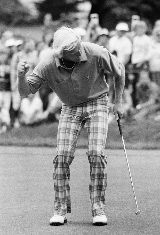 Greg Norman coaxes the ball in the cup as he gets a birdie on the fifth hole of the final round of the U.S. Open in Mamaroneck, N.Y. on Sunday, June 17, 1984.
