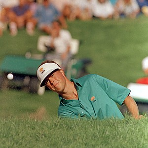 Bob Tway watches his birdie trap shot on the 18th green of the PGA Championship as it leaves the trap, Aug. 11, 1986, in Toledo, Ohio. The birdie gave Tway a one-shot victory over Greg Norman in the tournament.