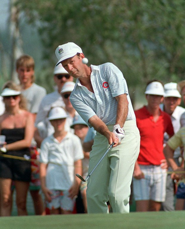 Larry Nelson of Marietta, Ga. keeps an eye on the ball during the final round of the PGA Championship Aug. 9,1987 at Palm Beach Gardens, Fla.. Nelson won the tournament and title in a playoff with Lanny Wadkins.
