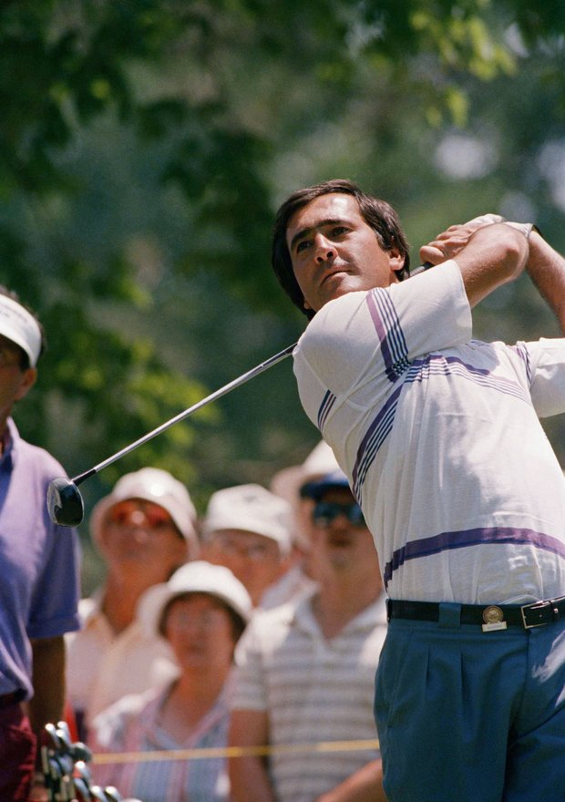 Seve Ballesteros of Spain watches his drive on Tuesday, June 14, 1988 in Brookline, Mass. during a practice round at the Country Club, preparing for the start of the U.S. Open Championship June 16th at the course.