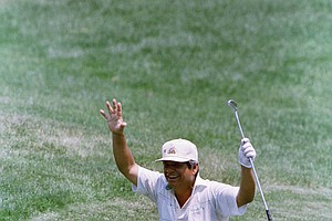 Lee Trevino, winner of the 1968 open, clowns around on the 3rd fairway of the Country Club course on Wednesday, June 15, 1988 in Brookline, Mass. during the final practice round for the upcoming U.S. Open.