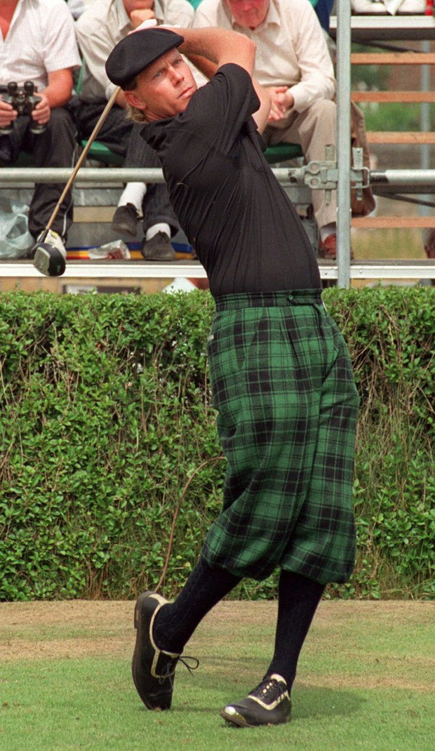 Golfer Payne Stewart, wearing tartan plus-fours, drives down the fairway during the first round of the Open Golf Championship in Troon, Scotland in this July 20, 1989 photo. Stewart, this year's U.S. Open Champion and winner of 18 tournaments around the world, including three major championships, died in a plane crash, Monday Oct. 25, 1999. He was 42.