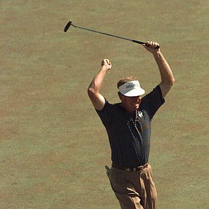 Steve Elkington of Australia celebrates after sinking a birdie putt on the 18th hole during the sudden-death playoff with Colin Montgomerie in the final round of the PGA Championship at the Riviera Country Club in Los Angeles on Sunday, Aug. 13, 1995. Montgomerie missed his putt and Elkington won the championship.