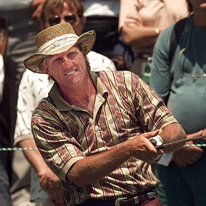 Greg Norman watches his tee shot during preparation for PGA Championship at the Riviera Country Club in Los Angeles, Tuesday, Aug. 8, 1995 .