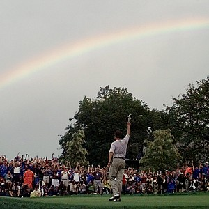 A rainbow soars above Davis Love III, of Sea Island, Ga., after he won the PGA Championship at Winged Foot Golf Club in Mamaroneck, N.Y., Sunday, August 17, 1997. Love finished the four rounds at -11.
