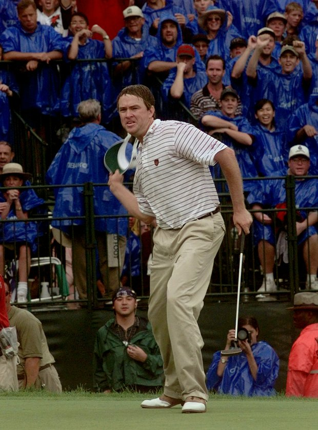 Davis Love III, celebrates after winning the PGA Championship at Winged Foot Golf Club in Mamaroneck, N.Y., Sunday, August 17, 1997. Love finished at -11 through four rounds.