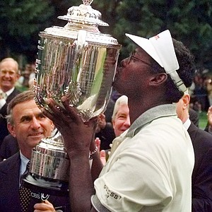 Vijay Singh kisses the Wanamaker Troph ater winning the 80th PGA Championship at the Sahalee Country Club in Redmond, Wash., on Sunday, Aug. 16, 1998.