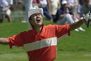 Japan's Shingo Katayama reacts to a missed birdie attempt on the third hole during third-round action Saturday, Aug. 18, 2001, at the PGA Championship in Duluth, Ga.