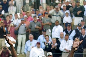 Vijay Singh, of Fiji, celebrates during the greenside ceremony after winning the 86th PGA Championship after a three-hole, three-way playoff with Justin Leonard and Chris DiMarco at Whistling Straits in Haven, Wis., Sunday, Aug.15, 2004.