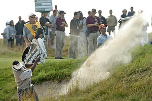 Vijay Singh, of Fiji, blasts from a bunker on the 11th hole during the final round of the PGA Championship at Whistling Straits in Haven, Wis., on Sunday, Aug. 15, 2004.