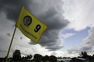 Storm clouds roll over Oakland Hills Country Club forcing a suspension of the first round of the 90th PGA Championship golf tournament Thursday, Aug. 7, 2008, at in Bloomfield Township, Mich.