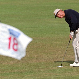 Jack Nicklaus from the USA plays the 18th at St. Andrews Old Course, Sunday July 23, 1995 during the final round in the British Open Golf Championship.
