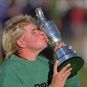 American golfer John Daly kissing the trophy after winning the Open Golf Championship at St. Andrews, Old Course, Sunday July 23 1995.