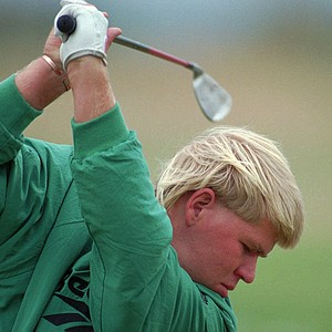 John Daly from the USA drives off from the 4th tee at St. Andrews Old Course, Sunday July 23 1995, during the final round of the British Open Championships.
