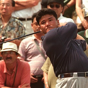 Japan's Shigeki Maruyama, tees off on the second during his final round in the 125th British Open golf championship at the Royal Lytham and St. Annes G.C. northwest England, Sunday July 21 1996.
