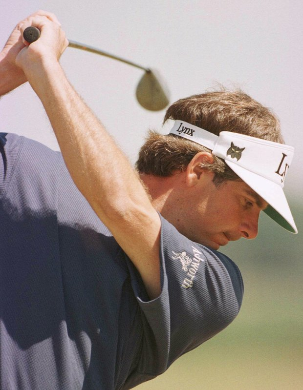 Fred Couples of the USA on the first tee, Saturday, July 19 1997, at the Royal Troon Golf Club in Scotland, during the third day's play in the 1997 British Open Golf Championships.