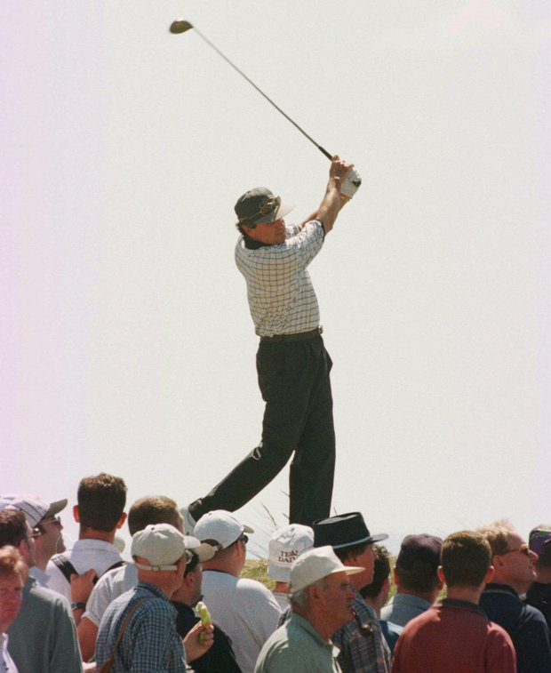 Mark McNulty from Zimbabwe tees off at the 6th Saturday, July 19 1997, at the Royal Troon Golf Club in Scotland, during the third day's play in the 1997 British Open Golf Championships.