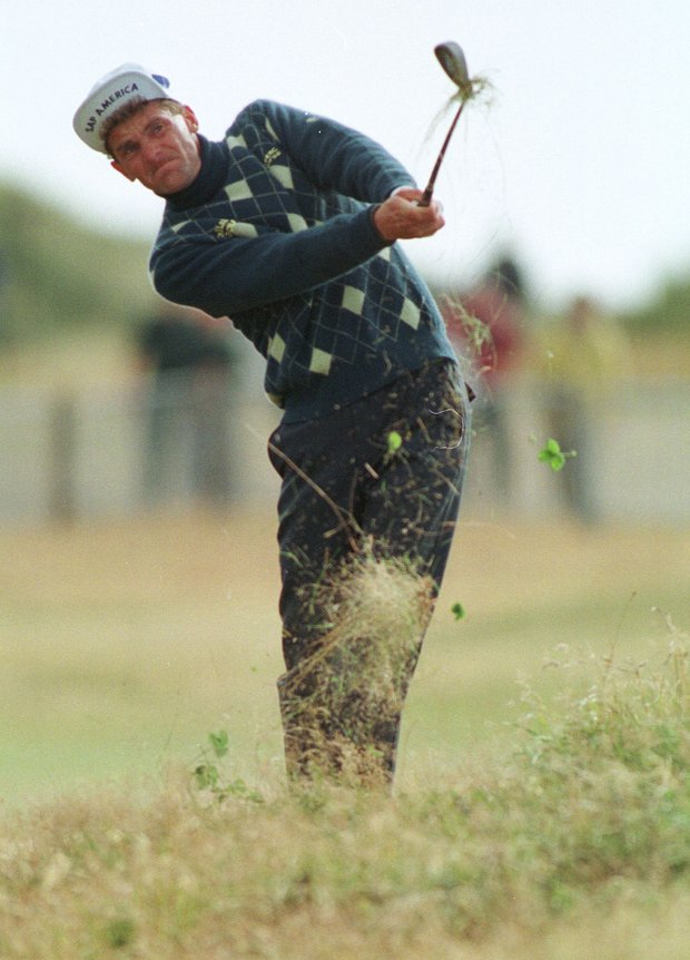 Sweden's Jesper Parnevik in the rough on the 14th on the third day of the British Open Golf Championships being held at the Royal Birkdale Golf Club, Saturday July 18 1998, in North West England.
