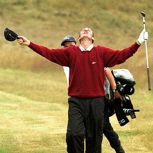 Britain's Justin Rose reacts after he chipped in at the 18th, Sunday, July 19, 1998, at Royal Birkdale Golf Club, in nortwest England on the final day of the 1998 British Open Golf Championships.
