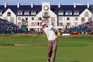 Justin Leonard, form the United States, plays from the 17th fairway with Carnoustie's new hotel in the background during the third round of the 128th Open Golf Championship at Carnoustie, Scotland, Saturday, July 17, 1999. Leonard finished 5-over-par after three rounds.