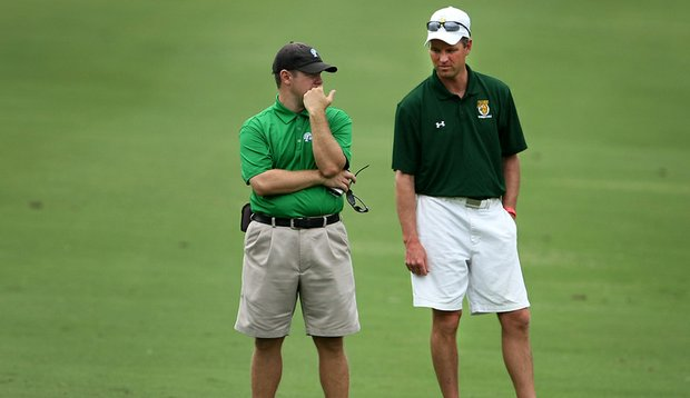 Tulane head coach J.T. Horton talks with North Dakota State head coach Matt Johnson during Round 1 of the NCAA Championship. Lance Ringler caught up with coaches in the field to get their opinions on the addition of the .500 rule.