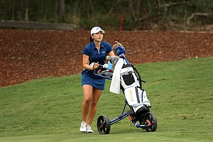 Tiffany Lua of UCLA during Round 2 of the Women's Division I Golf Championships.