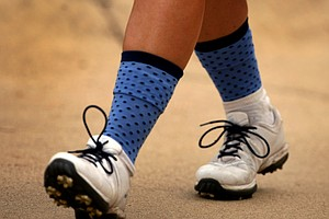 The University of North Carolina team sported team socks during Round 2 of the Women's Division I Golf Championships.