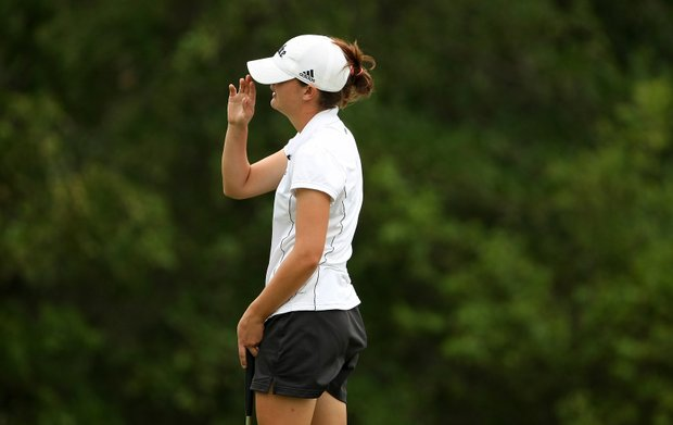 Duke's Lindy Duncan reacts to missing a birdie putt at No. 2.