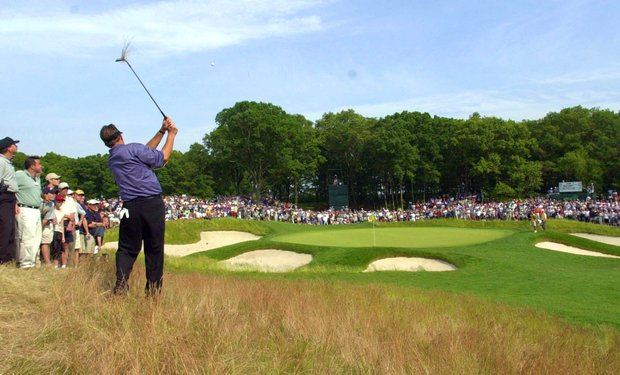 Phil Mickelson hits to the fifth green from the rough during the final round of the U.S. Open Golf Championship at the Black Course of Bethpage State Park in Farmingdale, N.Y., Sunday, June 16, 2002.