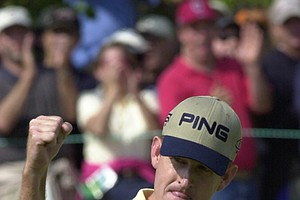 Jeff Maggert pumps his fist after his birdie putt on the fifth green during the final round of the U.S. Open Golf Championship at the Black Course of Bethpage State Park in Farmingdale, N.Y., Sunday, June 16, 2002.