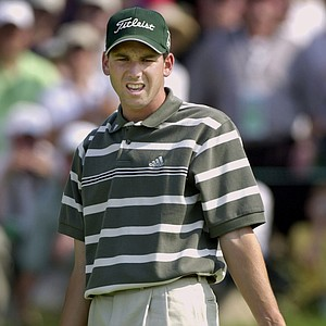 Sergio Garcia reacts after his putt on the seventh green, Sunday, June 16, 2002 at the U.S. Open Golf Championship at the Black Course of Bethpage State Park in Farmingdale, N.Y. Garcia bogeyed the hole.