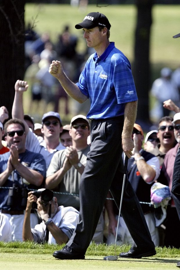 Jim Furyk reacts after saving par on the second hole during the final round of the 103rd U.S. Open at the Olympia Fields Country Club on Sunday, June 15, 2003, in Olympia Fields, Ill.