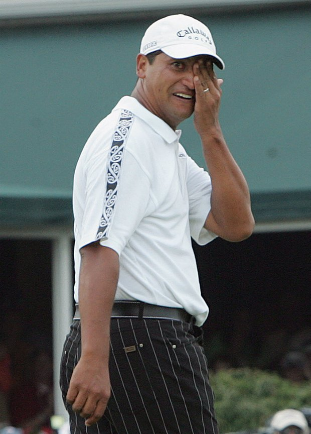 Michael Campbell of New Zealand reacts after winning the 105th US Open Championship at the Pinehurst Resort and Country Club's No. 2 course in Pinehurst, N.C. Sunday, June 19, 2005.