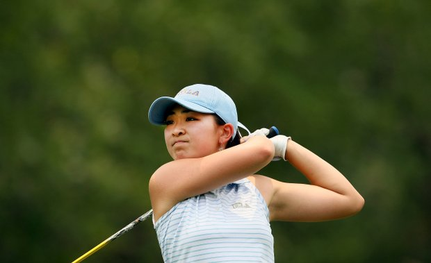 UCLA's Tiffany Lua hits her tee shot at No. 1. She's in the final group of the day.
