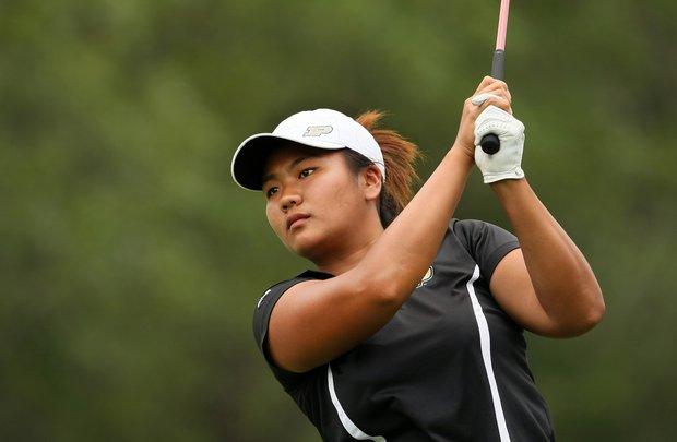 Purdue's Numa Gulyanamitta hits her tee shot at No. 1.