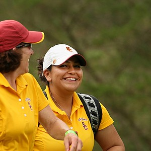 University of Southern California's Lizette Salas shares a laugh with head coach, Andrea Gaston, during Round 3.
