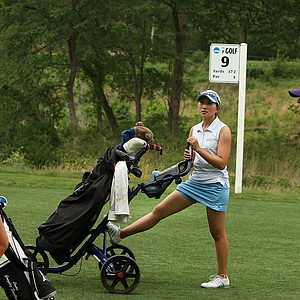 UCLA's Glory Yang, center, Purdue's Laura Gonzalez and LSU's Jacqueline Hedwall chat while waiting their turn at No. 9.