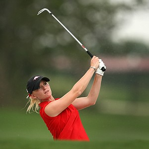 Arkansas' Kelli Shean hits a shot during the final round. Shean finished second as an individual.