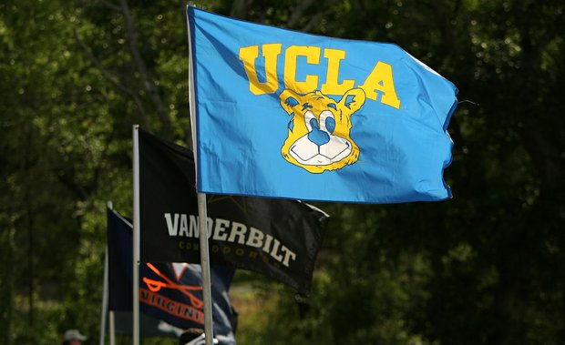 UCLA's flag flies near the 18th green during Round 1 of the Women's Division I Golf Championships.
