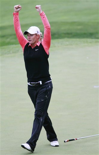Suzann Pettersen, of Norway, celebrates after sinking a putt on the 18th hole to beat Cristie Kerr during the championship match of the LPGA Sybase Match Play Championship at Hamilton Farm GC, Sunday in Gladstone, N.J. Pettersen beat Cristie Kerr 1-up to win the Sybase Match Play Championship on Sunday.