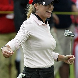 Cristie Kerr smiles after winning her semifinal round match against Angela Stanford in the LPGA Sybase Match Play Championship at Hamilton Farm GC, Sunday, May 22, 2011, in Gladstone, N.J.