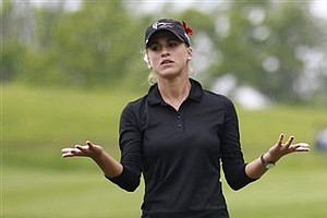 Belen Mozo, of Spain, reacts after missing a shot on the 19th hole during a first round match against Azahara Munoz, also of Spain, in the LPGA Sybase Match Play Championship on Thursday, May 19, 2011 in Gladstone, N.J. Mozo went on to win on the 21st hole.