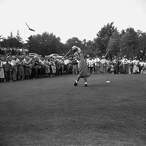 Babe Didrikson Zaharias swings and drives the ball from the 10th tee in the first round of the Women's U.S. Open Golf Championship at Salem Country Club in Peabody, Ma., July 1, 1954. The Babe and amateur Claire Doran, history teacher from Cleveland, posted even 72s to share first round honor.