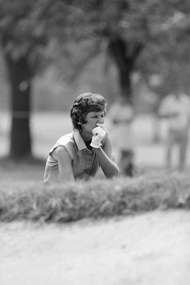 Golfer Kathy Whitworth ponders her situation from a bunker on the fifth hole of the second round of the U.S. Womens Open, July 24, 1981, La Grange Ill. Whitworths two round total of 139 ties her for the lead with Bonnie Lauer.